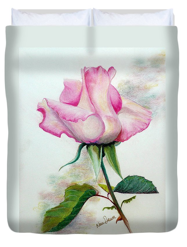 Rose Pastel Paintings Duvet Cover featuring the pastel So Pink by Karin Dawn Kelshall- Best