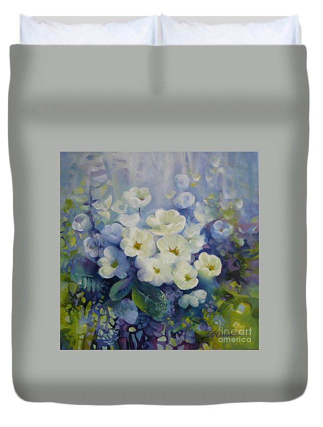 Primrose Duvet Cover featuring the painting Spring by Elena Oleniuc