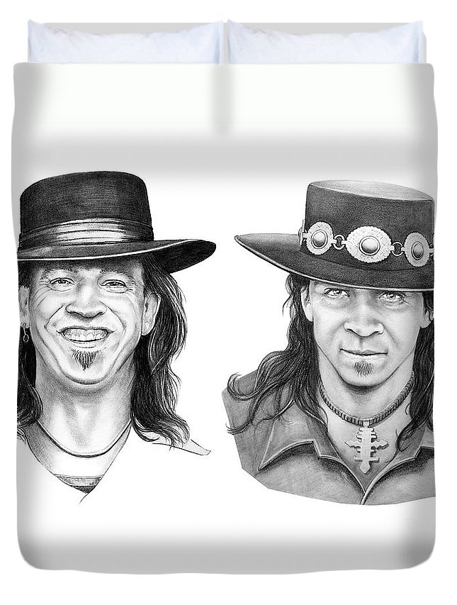 Drawing Duvet Cover featuring the drawing Stevie Ray Vaughn by Murphy Elliott