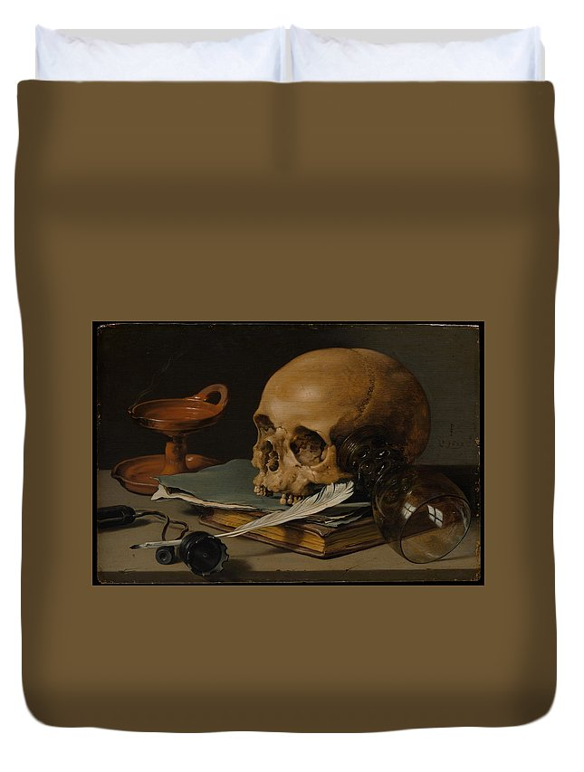 Pieter Claesz Still Life With A Skull And A Writing Quill Duvet Cover featuring the painting Still Life With A Skull And A Writing Quill by Pieter Claesz