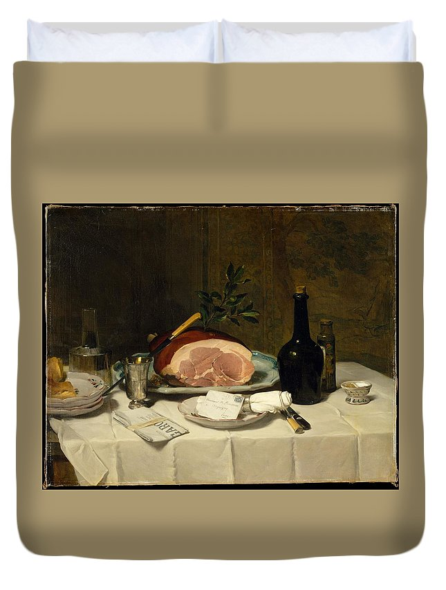 Philippe Rousseau Still Life With Ham Duvet Cover featuring the painting Still Life With Ham by Philippe Rousseau