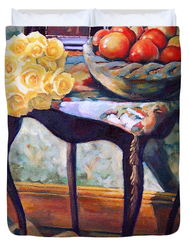 Still Life Duvet Cover featuring the painting Still Life With Roses by Iliyan Bozhanov