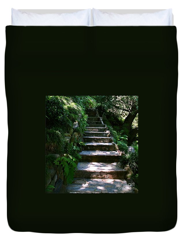 Nature Duvet Cover featuring the photograph Stone Steps by Dean Triolo