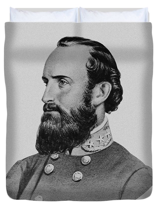Stonewall Jackson Duvet Cover featuring the painting Stonewall Jackson - Six by War Is Hell Store