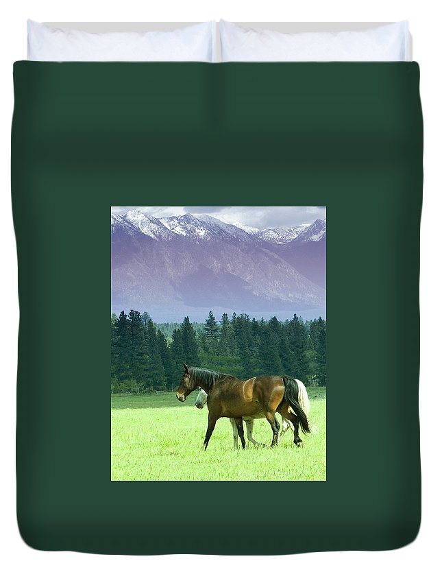 Horses Duvet Cover featuring the photograph Strolling by Eleszabeth McNeel