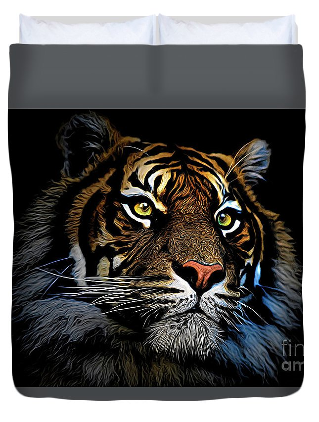 Animal Duvet Cover featuring the photograph Sumatran tiger by Sheila Smart Fine Art Photography