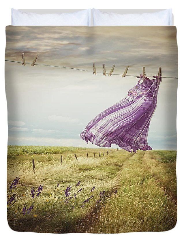 Atmosphere Duvet Cover featuring the photograph Summer Dress Blowing On Clothesline With Girl Walking Down Path by Sandra Cunningham