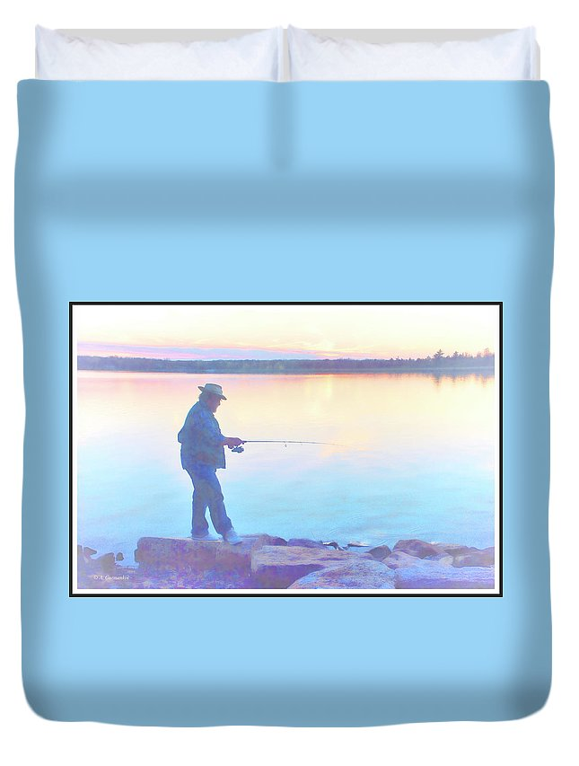 Sunrise Duvet Cover featuring the photograph Sunrise Fisherman by A Gurmankin
