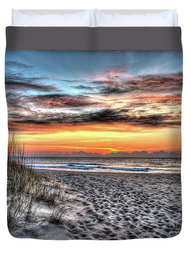 Currituck Beach Duvet Cover featuring the photograph Sunrise Outer Banks Of North Carolina Seascape by Greg Hager