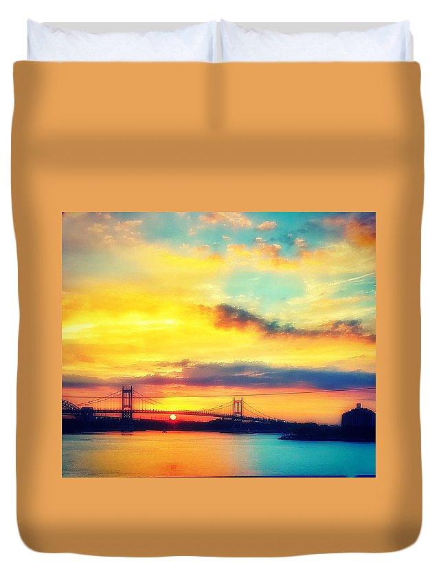 Bridge Duvet Cover featuring the photograph Sunrise by Robert Villano