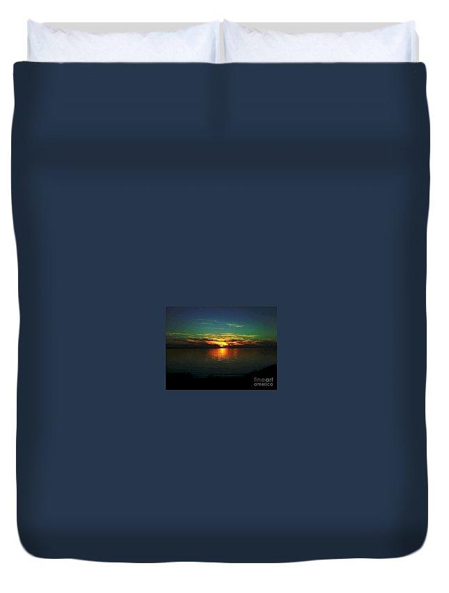 Sunset Duvet Cover featuring the digital art Sunset by Dawn Johansen