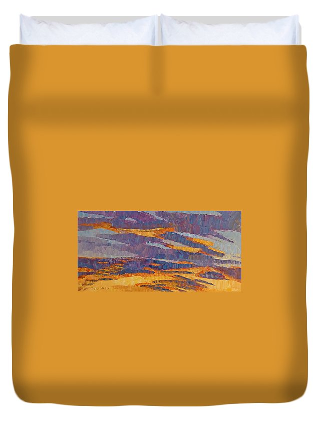 Sunset Duvet Cover featuring the painting Sunset On Paseo by Susan Tormoen