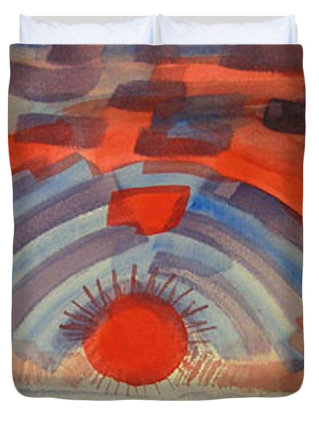 Landscape Duvet Cover featuring the painting Sunset On The Horizon by Natalee Parochka