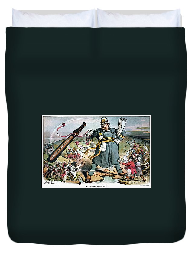 1905 Duvet Cover featuring the photograph T. Roosevelt Cartoon by Granger