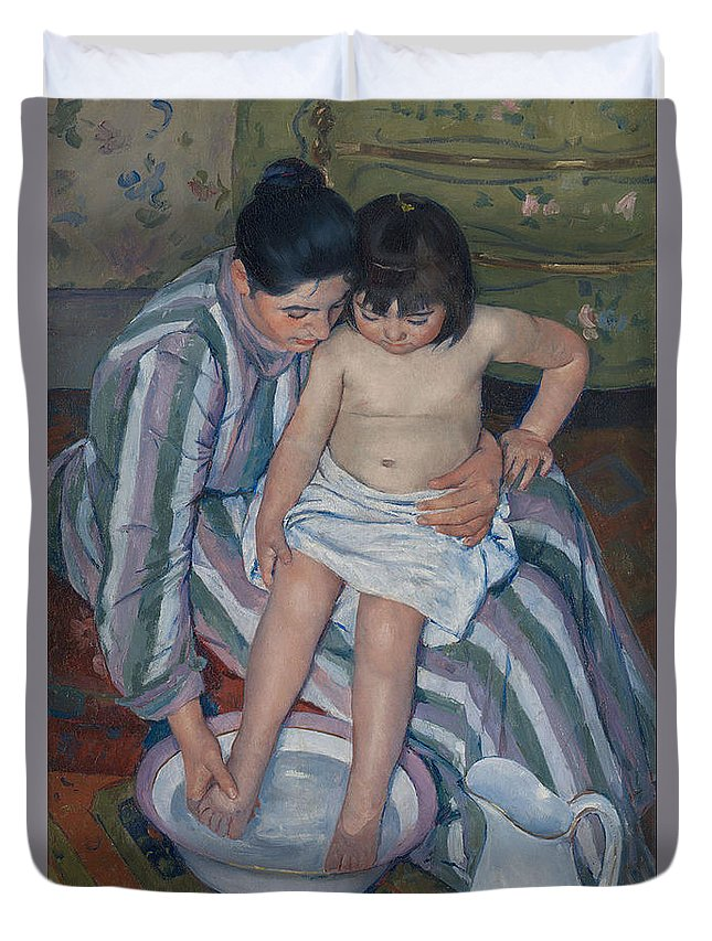 The Child's Bath Duvet Cover featuring the painting The Child's Bath by Mary Cassatt