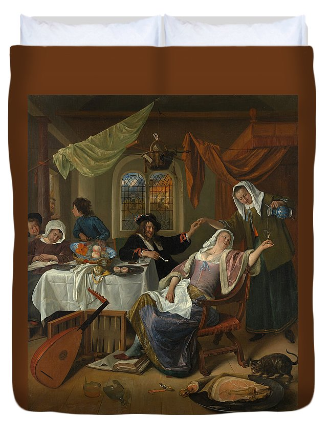 Arts Duvet Cover featuring the painting The Dissolute Household by Jan Steen
