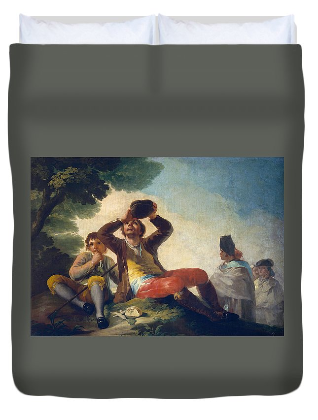 Child Duvet Cover featuring the painting The Drinker by Francisco Goya