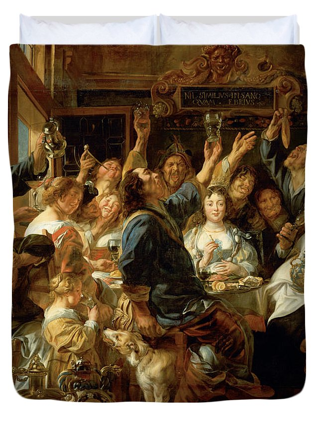 Animal Duvet Cover featuring the painting The Feast Of The Bean King by Jacob Jordaens