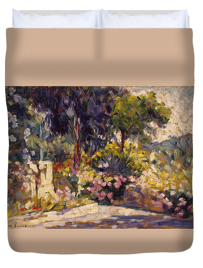 France Duvet Cover featuring the painting The Flowered Terrace by Henri Edmond Cross