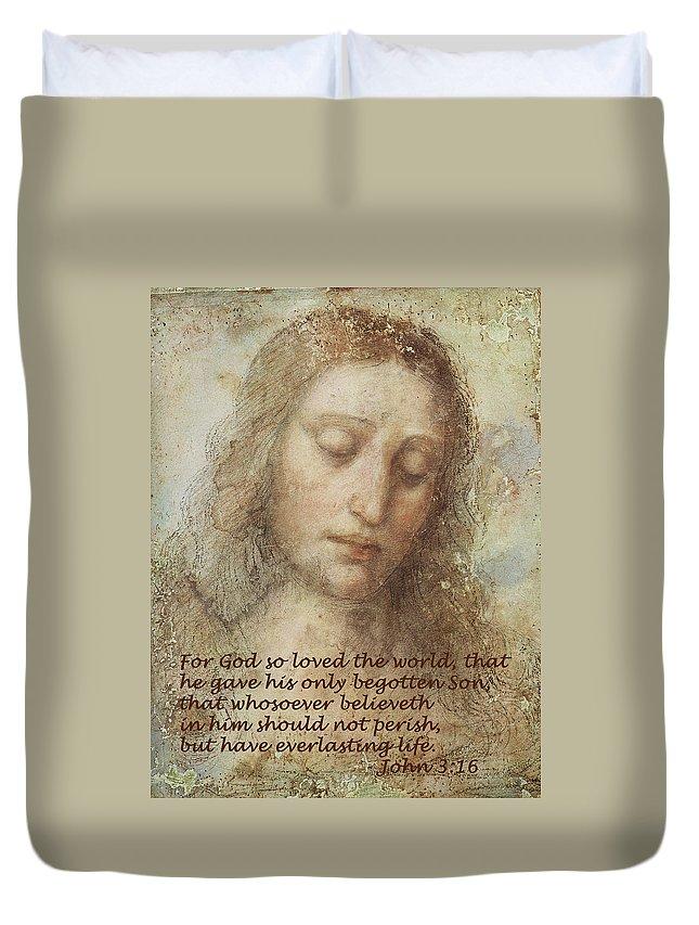 The Head Of Christ Duvet Cover featuring the digital art The Head Of Christ by Leonardo da Vinci