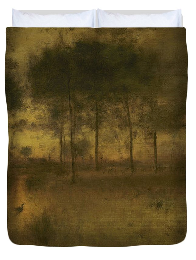 Home Duvet Cover featuring the painting The Home Of The Heron by George Inness