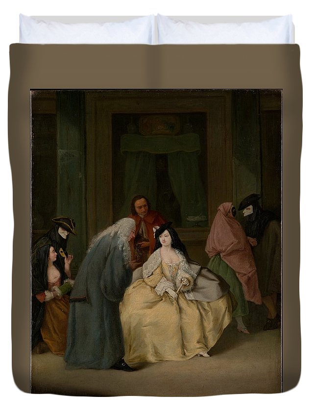 Pietro Longhi The Meeting Duvet Cover featuring the painting The Meeting by Pietro Longhi