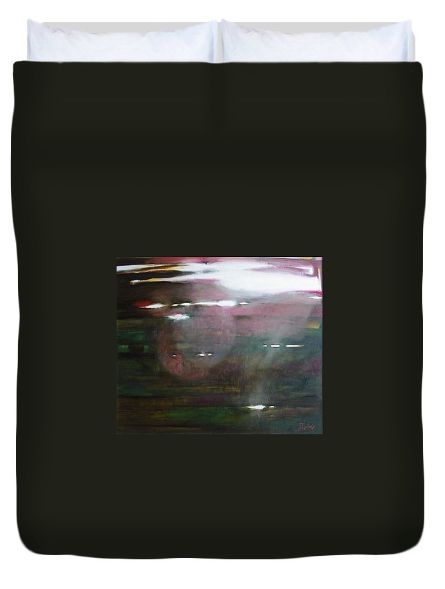 Oil Duvet Cover featuring the painting The Parallel World by Sergey Ignatenko