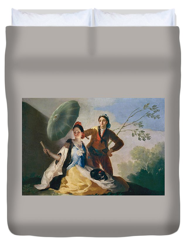 Couple Duvet Cover featuring the painting The Parasol by Francisco Goya