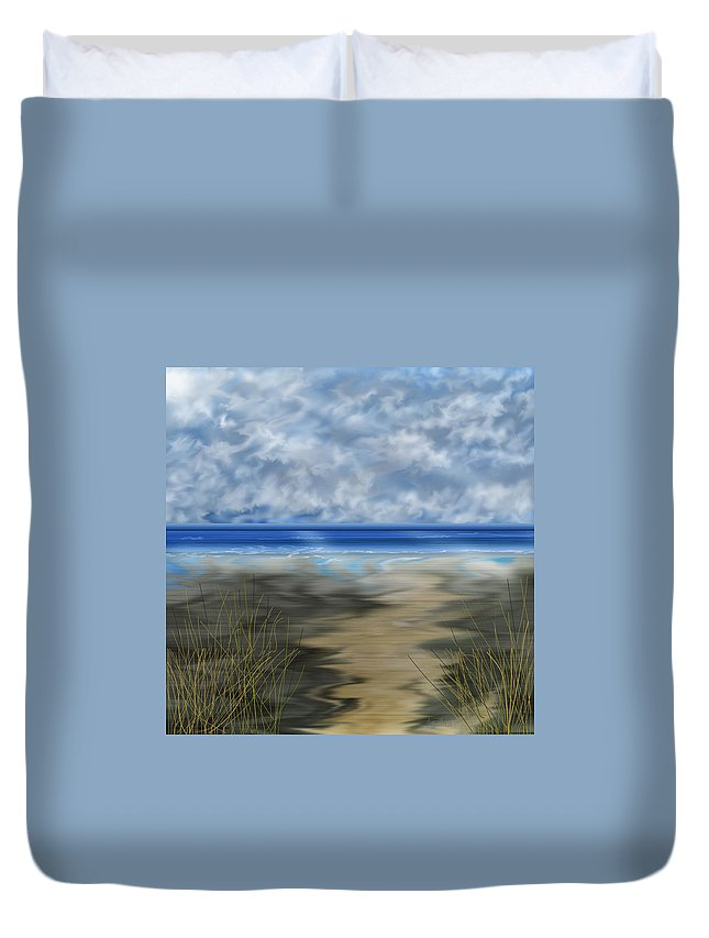 Anne Norskog Duvet Cover featuring the painting The Road Less Travelled by Anne Norskog