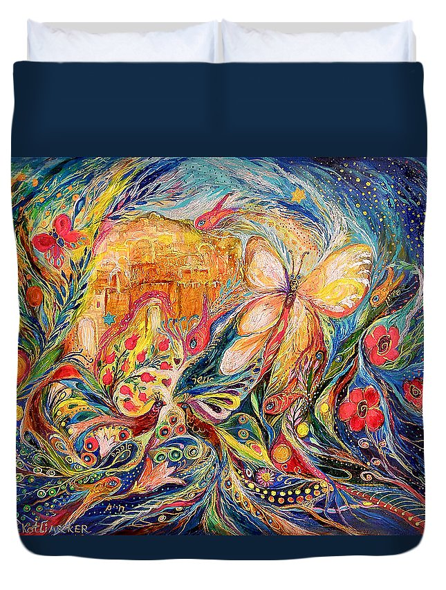 Original Duvet Cover featuring the painting The Shining Of Jerusalem by Elena Kotliarker