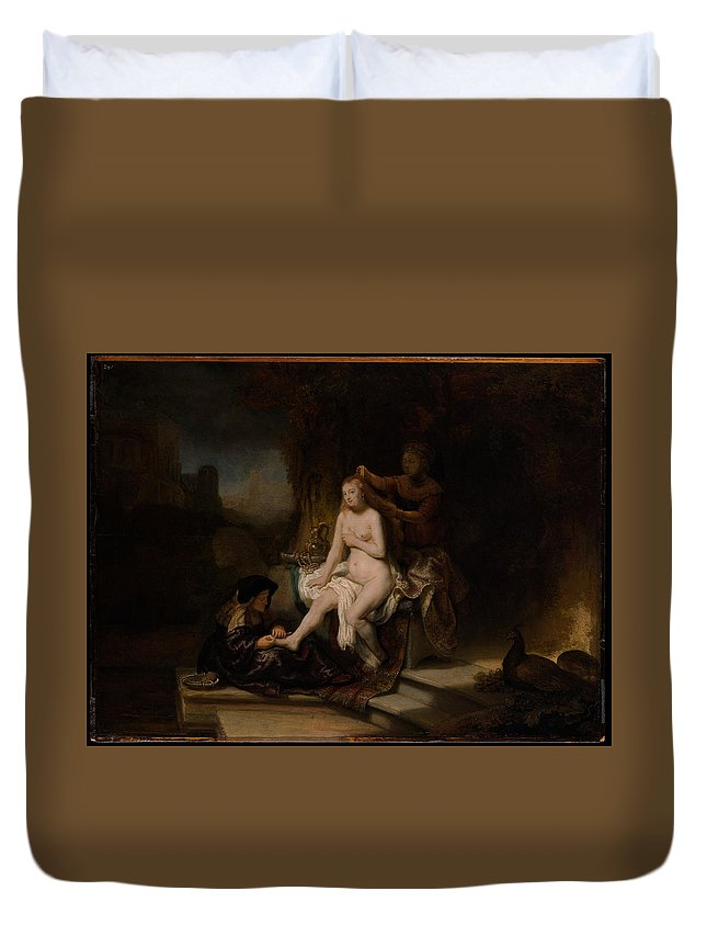 Rembrandt The Toilet Of Bathsheba Duvet Cover featuring the painting The Toilet Of Bathsheba by Rembrandt