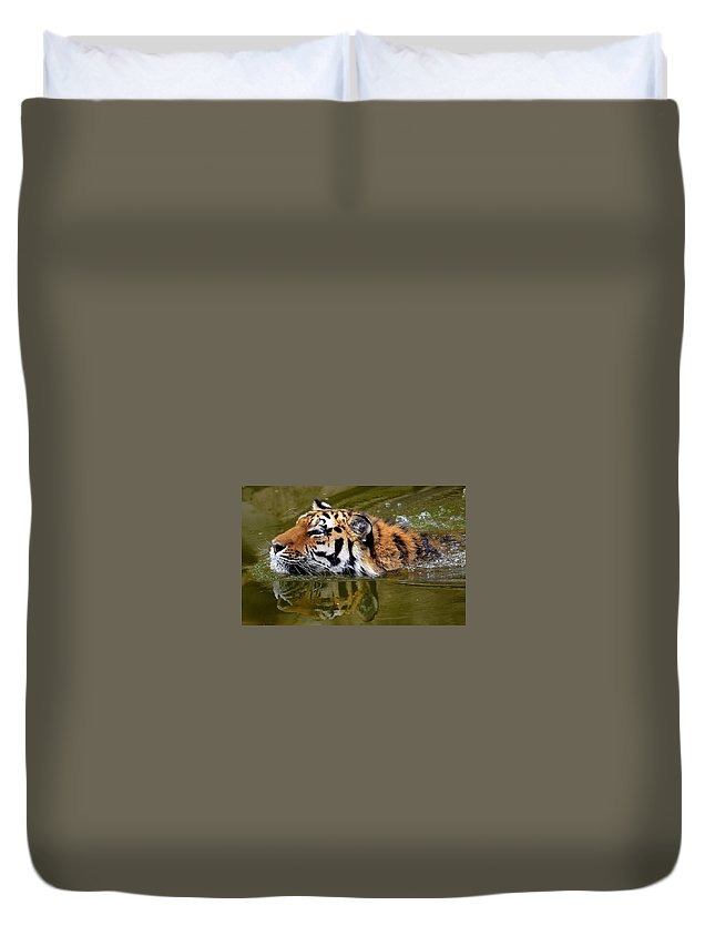 Tiger Duvet Cover featuring the digital art Tiger by Dorothy Binder