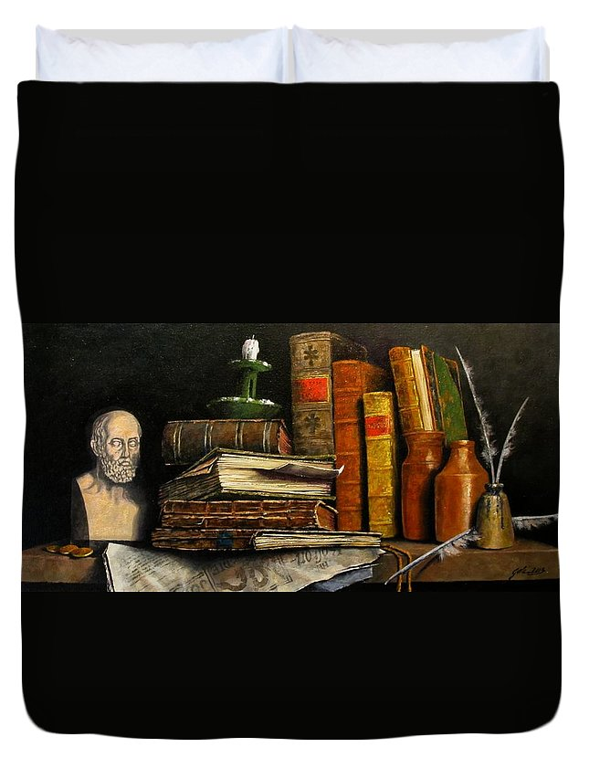 Still Life Duvet Cover featuring the painting Time and Old Friends by Jim Gola
