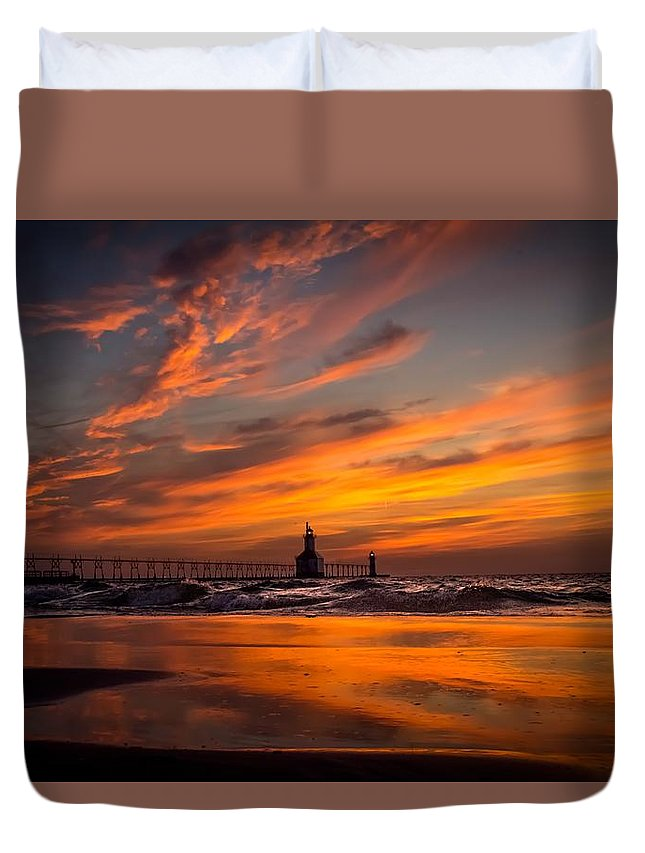 Duvet Cover featuring the photograph Tiscornia Beach - St. Joseph by Molly Pate