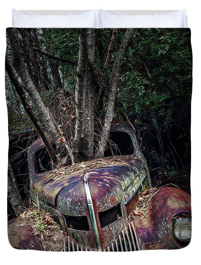Vintage Cars Duvet Cover featuring the photograph 2 Ton Flower Pot by Doug Sturgess