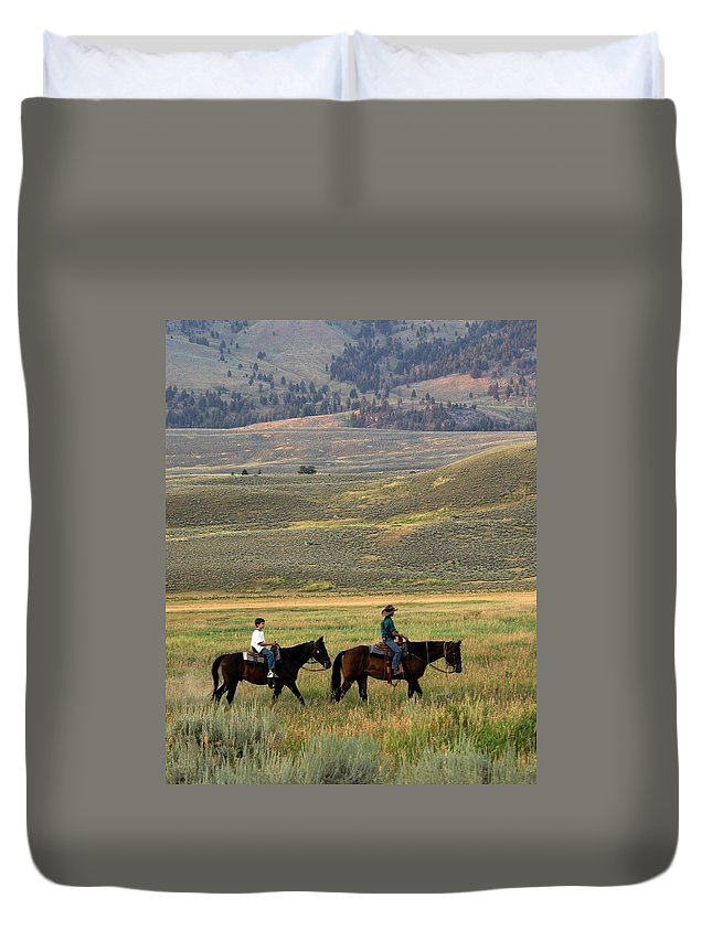 Horse Duvet Cover featuring the photograph Trail Ride by Marty Koch