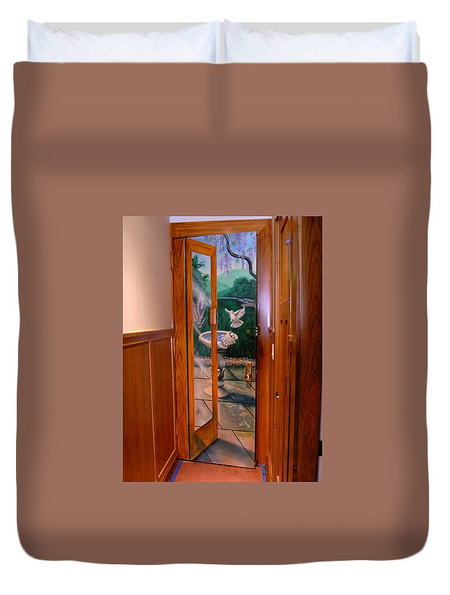 Tromp L'oeil Mural Duvet Cover featuring the painting Trompe L'oeil by Thomas Lupari