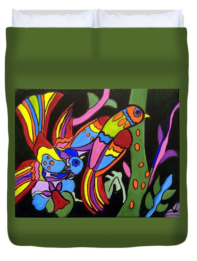 Tropical Duvet Cover featuring the painting 2 Tropical Birds by Anggelyka Apostle