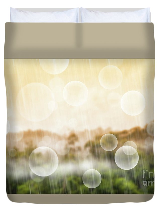 Abstract Duvet Cover featuring the photograph Tropical Forest by Atiketta Sangasaeng