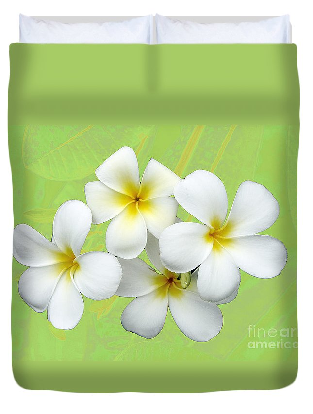 Flower Duvet Cover featuring the photograph Tropical Frangrapani by Karen Lewis