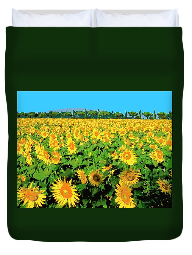 Tuscany Sunflowers Duvet Cover featuring the mixed media Tuscany Sunflowers by Dominic Piperata