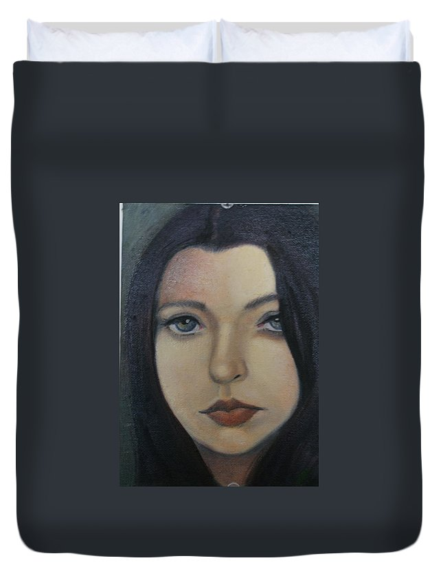 Girl Duvet Cover featuring the painting That Stare by Toni Berry