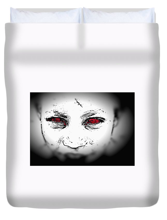 Eyes Face Looks Black And White Red Duvet Cover featuring the digital art Untitled by Veronica Jackson