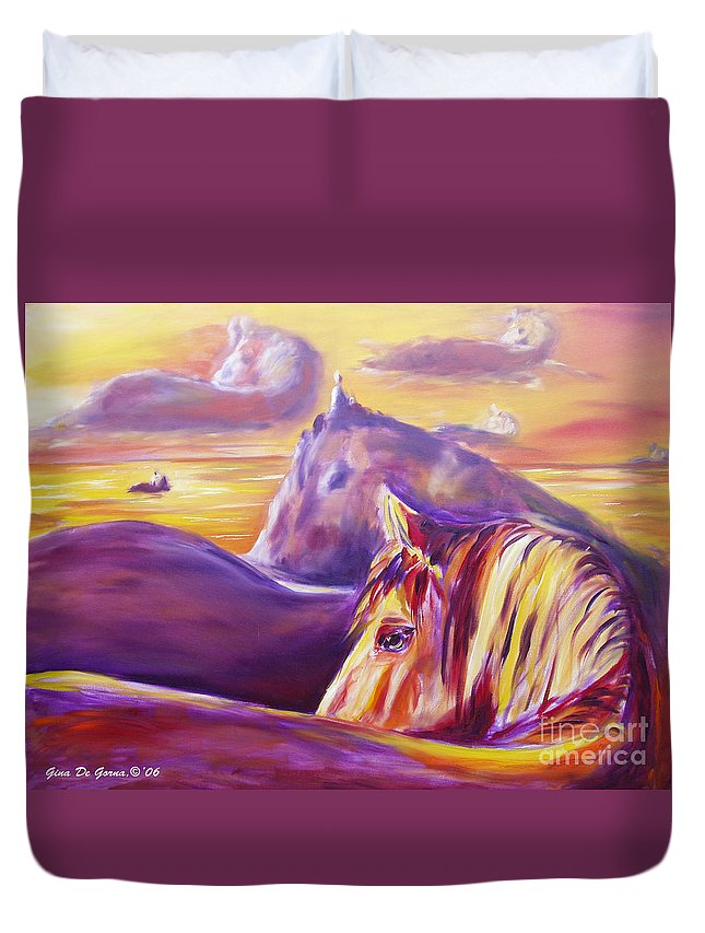 Horses Duvet Cover featuring the painting Horse World by Gina De Gorna