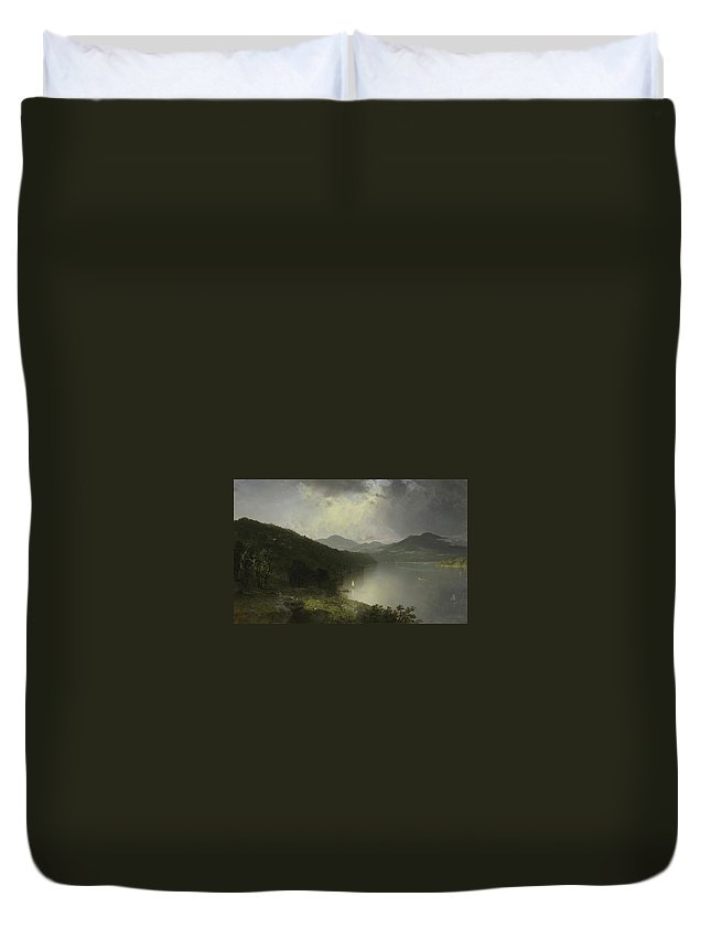 John Frederick Kensett View On The Hudson Duvet Cover featuring the painting View On The Hudson by John Frederick