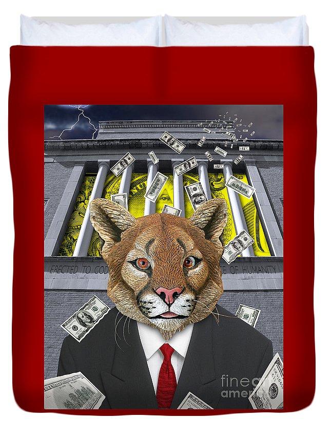 Digital Art.encomomy Digital Art Duvet Cover featuring the digital art Wall Street Predator by Keith Dillon