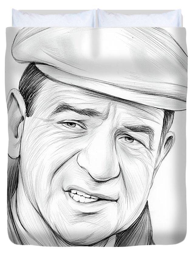 Walter Matthau Duvet Cover featuring the drawing Walter Matthau by Greg Joens