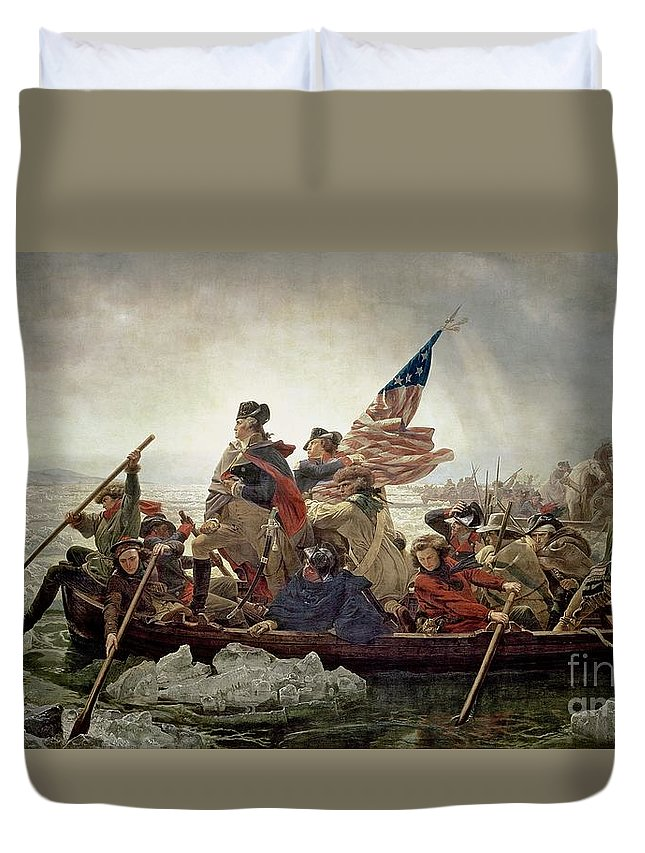 American War Of Independence; Ice Floes; Boats; Flag; American; Floe; Boat; Rowing; Banner; Flag; Colonial Troops; Troop; Winter; Army; American Revolutionary War; Battle Of Trenton; Stars And Stripes; Intrepid; Brave; New Jersey; Soldiers; Male; Military Uniform; Emanuel Gottlieb Leutze Duvet Cover featuring the painting Washington Crossing The Delaware River by Emanuel Gottlieb Leutze