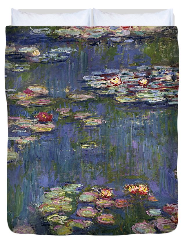 Monet Duvet Cover featuring the painting Water Lilies, 1916 by Claude Monet