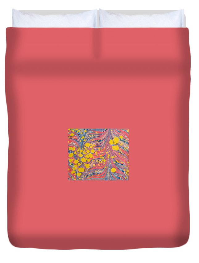 Water Marbling Art Duvet Cover featuring the painting Water Marbling Art ,ebru by Dilan C
